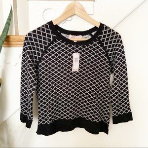 Philosophy black white patterned sweater sz S